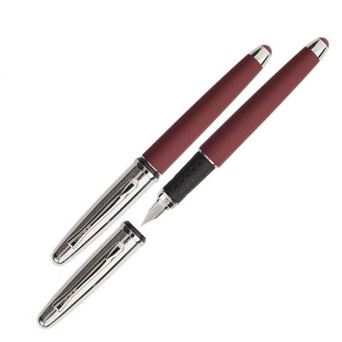 Borghini Guilloche Prestige Fountain Pen in Soft Touch Bordeaux